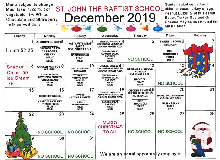 dec lunch calendar 2019